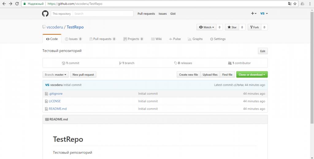 Страница репозитория на GitHub